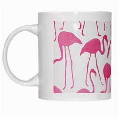 Pink Flamingos Pattern White Mugs by Patterns