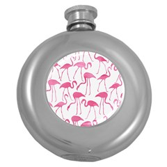 Pink Flamingos Pattern Round Hip Flask (5 Oz) by Patterns