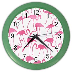 Pink Flamingos Pattern Color Wall Clocks by Patterns