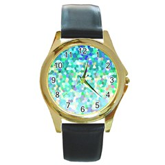 Mosaic Sparkley 1 Round Gold Metal Watches by MedusArt