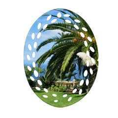 Sunny Tenerife Oval Filigree Ornament (2 Side)  by MoreColorsinLife