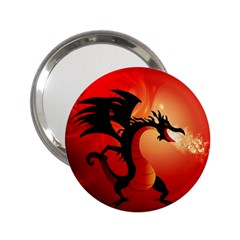 Funny, Cute Dragon With Fire 2 25  Handbag Mirrors by FantasyWorld7