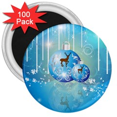 Wonderful Christmas Ball With Reindeer And Snowflakes 3  Magnets (100 Pack) by FantasyWorld7