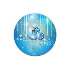 Wonderful Christmas Ball With Reindeer And Snowflakes Magnet 3  (round) by FantasyWorld7