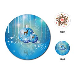 Wonderful Christmas Ball With Reindeer And Snowflakes Playing Cards (round)  by FantasyWorld7