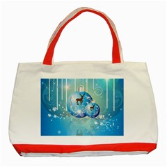 Wonderful Christmas Ball With Reindeer And Snowflakes Classic Tote Bag (red)  by FantasyWorld7