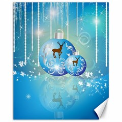 Wonderful Christmas Ball With Reindeer And Snowflakes Canvas 11  X 14   by FantasyWorld7