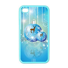 Wonderful Christmas Ball With Reindeer And Snowflakes Apple Iphone 4 Case (color) by FantasyWorld7