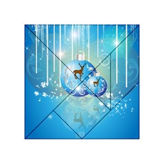 Wonderful Christmas Ball With Reindeer And Snowflakes Acrylic Tangram Puzzle (4  X 4 ) by FantasyWorld7