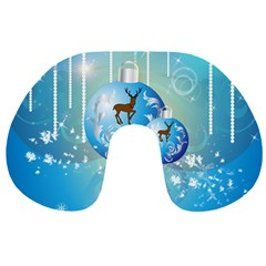 Wonderful Christmas Ball With Reindeer And Snowflakes Travel Neck Pillows by FantasyWorld7