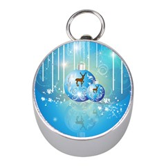 Wonderful Christmas Ball With Reindeer And Snowflakes Mini Silver Compasses by FantasyWorld7