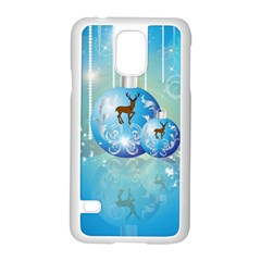 Wonderful Christmas Ball With Reindeer And Snowflakes Samsung Galaxy S5 Case (white) by FantasyWorld7