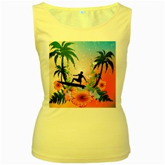 Tropical Design With Surfboarder Women s Yellow Tank Tops by FantasyWorld7