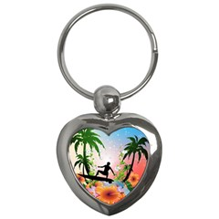 Tropical Design With Surfboarder Key Chains (heart)  by FantasyWorld7