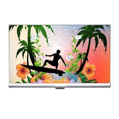 Tropical Design With Surfboarder Business Card Holders by FantasyWorld7