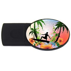 Tropical Design With Surfboarder Usb Flash Drive Oval (2 Gb)  by FantasyWorld7
