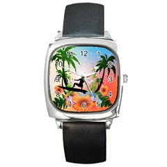 Tropical Design With Surfboarder Square Metal Watches by FantasyWorld7