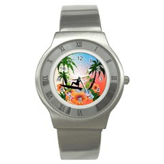 Tropical Design With Surfboarder Stainless Steel Watches by FantasyWorld7