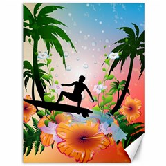 Tropical Design With Surfboarder Canvas 36  X 48   by FantasyWorld7