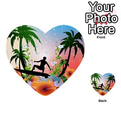 Tropical Design With Surfboarder Multi Purpose Cards (heart)  by FantasyWorld7