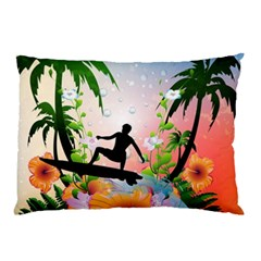 Tropical Design With Surfboarder Pillow Cases by FantasyWorld7