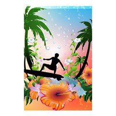 Tropical Design With Surfboarder Shower Curtain 48  X 72  (small)  by FantasyWorld7