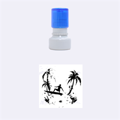 Tropical Design With Surfboarder Rubber Round Stamps (small) by FantasyWorld7