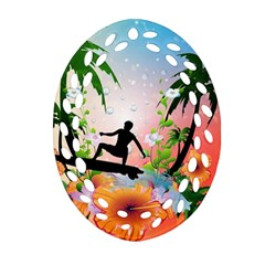 Tropical Design With Surfboarder Ornament (oval Filigree)  by FantasyWorld7
