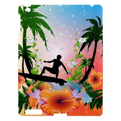 Tropical Design With Surfboarder Apple Ipad 3/4 Hardshell Case by FantasyWorld7