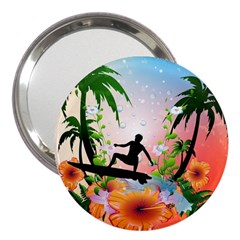 Tropical Design With Surfboarder 3  Handbag Mirrors by FantasyWorld7