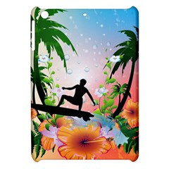 Tropical Design With Surfboarder Apple Ipad Mini Hardshell Case by FantasyWorld7