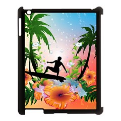 Tropical Design With Surfboarder Apple Ipad 3/4 Case (black) by FantasyWorld7