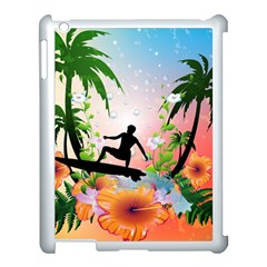 Tropical Design With Surfboarder Apple Ipad 3/4 Case (white) by FantasyWorld7