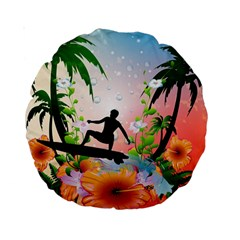 Tropical Design With Surfboarder Standard 15  Premium Round Cushions by FantasyWorld7