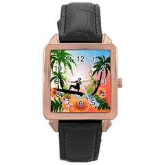 Tropical Design With Surfboarder Rose Gold Watches by FantasyWorld7