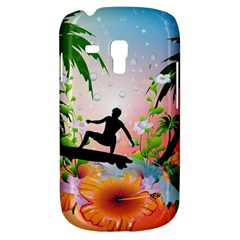 Tropical Design With Surfboarder Samsung Galaxy S3 Mini I8190 Hardshell Case by FantasyWorld7