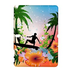 Tropical Design With Surfboarder Samsung Galaxy Note 10 1 (p600) Hardshell Case by FantasyWorld7