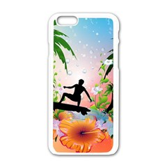 Tropical Design With Surfboarder Apple Iphone 6/6s White Enamel Case by FantasyWorld7