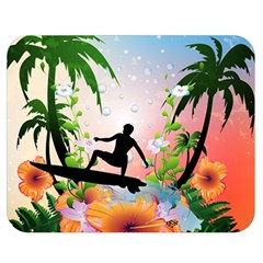 Tropical Design With Surfboarder Double Sided Flano Blanket (medium)  by FantasyWorld7