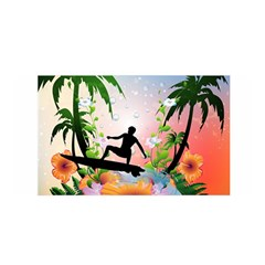 Tropical Design With Surfboarder Satin Wrap by FantasyWorld7