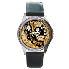 Sugar Skull In Black And Yellow Round Metal Watches by FantasyWorld7