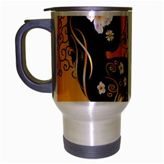 Sugar Skull In Black And Yellow Travel Mug (silver Gray) by FantasyWorld7