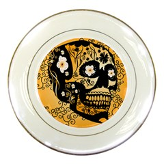 Sugar Skull In Black And Yellow Porcelain Plates by FantasyWorld7