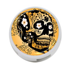 Sugar Skull In Black And Yellow 4-Port USB Hub (One Side) by FantasyWorld7
