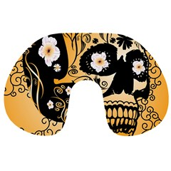 Sugar Skull In Black And Yellow Travel Neck Pillows