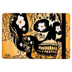 Sugar Skull In Black And Yellow Ipad Air Flip by FantasyWorld7