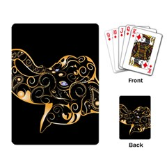 Beautiful Elephant Made Of Golden Floral Elements Playing Card by FantasyWorld7