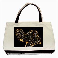 Beautiful Elephant Made Of Golden Floral Elements Basic Tote Bag  by FantasyWorld7