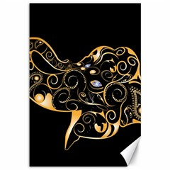 Beautiful Elephant Made Of Golden Floral Elements Canvas 12  x 18   by FantasyWorld7