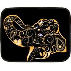 Beautiful Elephant Made Of Golden Floral Elements Fleece Blanket (mini)